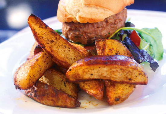 Lamb Burgers with Paprika Wedges